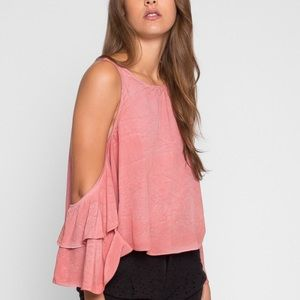 Wet Seal Cold Shoulder Canyon Sky Top in Coral